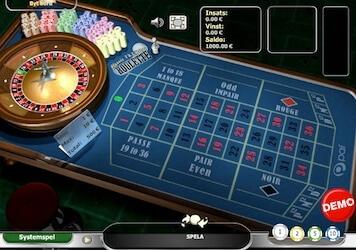 Paf har fransk roulette med enkelnolla och La Partage