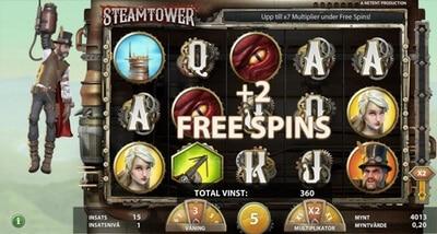 Free spins i sloten Steamtower