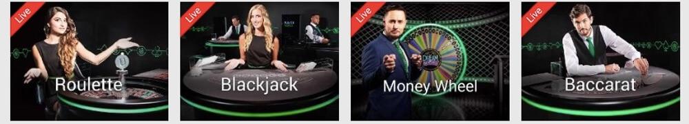 Spela live roulette, black jack, poker, baccarat