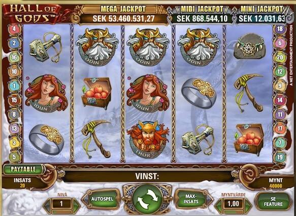 Jaga jackpotten på Hall of Gods hos Leo Vegas