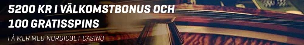 100 free spins och 5200kr hos NordicBet Casino!