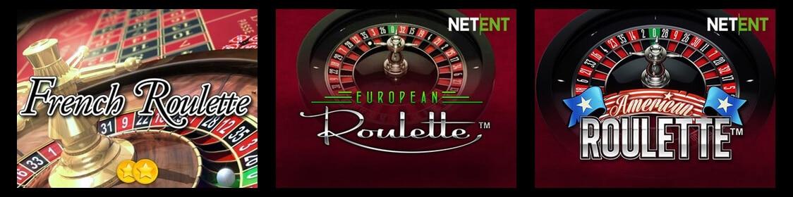 Olika varianter av spelet: Amerikansk, fransk och europeisk roulette