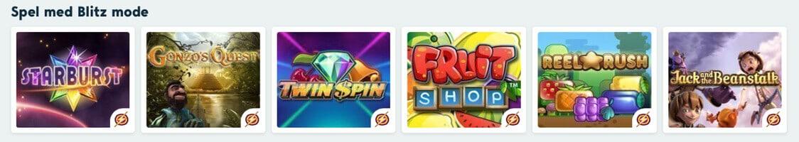 Spel med bonus och free spins hos Speedy Casino